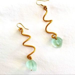 Gold Spiral and Chalcedony Drop Earrings
